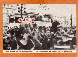 * * LE MONDE VECU * * 1982, PARIS. Manifestation Des Tsiganes, Place De La République ( 2 Scans ) - Demonstrations