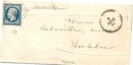Meuse - Ancerville Pour Bar Le Duc. PC + CàD Perlé Type 22 - Marcophilie (Lettres)