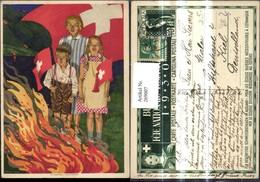 269007,Künstler Ak H. Vontobel Frau Kinder B. Feuer Lagerfeuer Fahne Schweiz Patrioti - Geschichte