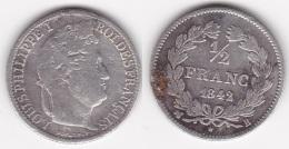 50 CENTIMES - 1/2 FRANC LOUIS PHILIPPE 1842 B En ARGENT (voir Scan) - G. 50 Centesimi