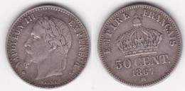 50 CENTIMES - NAPOLEON III 1867 BB (voir Scan) - G. 50 Centesimi