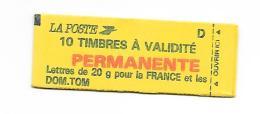 CARNET TYPE MARIANNE  DE BRIAT 10 TIMBRE LETTRE D COF 6 - Carnets