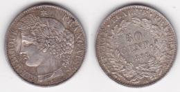 50 CENTIMES - CERES 1888 A SUPERBE En ARGENT (voir Scan) - G. 50 Centesimi
