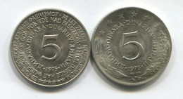 YUGOSLAVIA - 5 Dinara, 1975. Commemorative Of Nazi Defeat, 2 Pieces - Yugoslavia