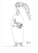 14991 - Dessin De Rose-Marie Eggmann Artiste Genevoise Signé 1981 Femme Et Chat - Dessins