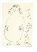 14992 - Dessin De Rose-Marie Eggmann Artiste Genevoise Signé 1989 Femme  Et Pot De Fleur, Papillon - Dessins