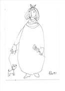 14995 - Dessin De Rose-Marie Eggmann Artiste Genevoise Signé  1981 Femme Et Chien - Dessins