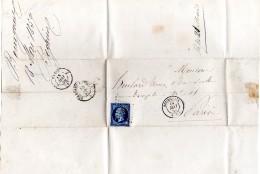 Lettre 1859 De Bourgueil à Paris Timbre Empire Français 20c Tampons Bourgueil ,Bordeaux à Paris ,Paris - Postmark Collection (Covers)