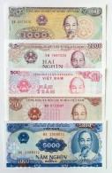Collection Of 5 Different Vietnam Viet Nam AU Banknotes 1988 / Billet 1985 - Vietnam