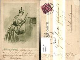 288805,Künstler Ak Henri Frau Wirft Brief I. Briefkasten Postkasten Postwesen Post Pu - Post & Briefboten