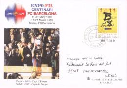 18690. Entero Postal Centenario FC BARCELONA, En Pts Circulado RIELL I VIABREA (Gerona) 2012 - Enteros Postales