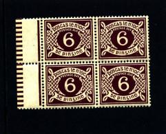 IRELAND/EIRE - 1925  POSTAGE DUE  6d. SE WMK  BLOCK OF FOUR  MINT NH SG D4 - Segnatasse