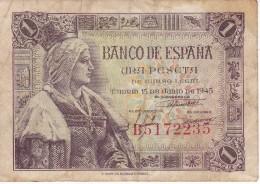 BILLETE DE ESPAÑA DE 1 PTA DEL 15/06/1945 ISABEL LA CATÓLICA SERIE B (BANK NOTE) - 1-2 Pesetas