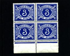 IRELAND/EIRE - 1952  POSTAGE DUE  3d. E WMK  BLOCK OF FOUR  MINT NH SG D9 - Segnatasse