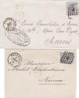 2 Lettres N° 18 BXL 2 Types Cachets à Date