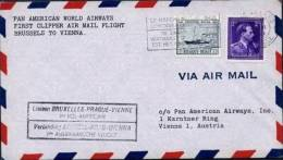 PAN AMERICAN CLIPPER AIRMAIL 1ST FLIGHT BRUSSELS TO VIENNA 1946 - Airmail