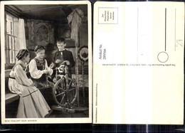 289566,Foto Ak Mädchen Bub Junge Spinnrad Tracht - Paysans