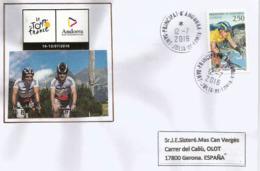 TOUR DE FRANCE 2016, ETAPE ANDORRE 12 JUILLET Enveloppe Spéciale Datée Du 12 Juillet, Adressée En Espagne - Ciclismo