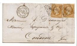 013. LAC 2 Ex. N°13 Type1 Bistre-orange - Cachet Paris HS4 - GSO (SEINE) - 1857 - 1849-1876: Periodo Classico