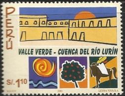 B)2001 PERU, DRAWING, TREE, HORSE,  RIVER, GREEN VALLEY, LURÍN RIVER VALLEY, SC 1301 A608, SOUVENIR SHEETS, MNH - Peru