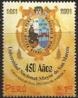 B)2001 PERU, STUDY, SHIELD,  UNIVERSITY,  SAN MARCOS UNIVERSITY, 450TH ANNIVERSARY,  SC 1297 A604, SOUVENIR SHEET, MNH - Peru