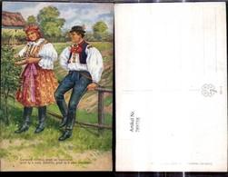 289738,Künstler Ak Ed. Kubicka Paar Tracht A. Zaun Bauern Spruch - Costumi