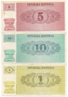 Slovenia. Republika Slovenija. 1 - 5 - 10 Tolarjev. Lot De 3 Billets. - Slovénie