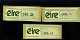 IRELAND/EIRE - 1990  AMIEL AUTOMATIC LABELS SET  MINT NH - Affrancature Meccaniche/Frama
