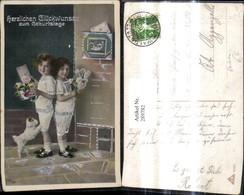 289782,Präge Ak Postwesen Mädchen Kinder Brief Postkasten Briefkasten Hund Silberverz - Post & Briefboten