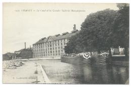 CHAGNY (71) Le Canal Et Les Grandes Tuileries Bourguignones - Beau Plan Animé - Deux Péniches - Chagny