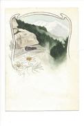 15003 - Petite Aquarelle  Format 9 X 13  Chemin De Fer Du Brünig Et Edelweiss - Aquarelles