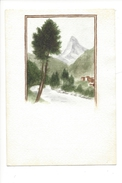 15005 - Petite Aquarelle  Format 9 X 13  Le  Cervin Et Zermatt - Aquarelles