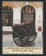 B)2001 PERU, MUSEUM, CART, POSTAL AND PHILATELIC MUSEUM, 70TH ANNIVERSARY, SC 1303 A610, SOUVENIR SHEET, MNH - Peru