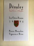 938 - Suisse Vaud  Dézaley Grand Cru Les Côtes Dessus 1993 - Etiquettes