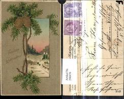 290479,Präge Ak Weihnachten Winterwald Passepartout Tannenzweig Zapfen Goldverzierung - Non Classificati