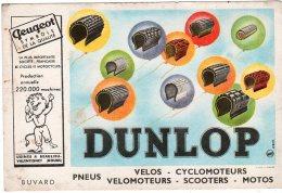Juil16    75682   Buvard   Pneus Dunlop  & Peugeot - Gas, Garage, Oil