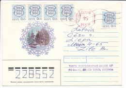 Uprated Stationery Multiple Stamp Cover - 26 February 1992 Tartu To Latvia - Estonia