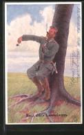 """CPA Illustrateur H.S.B.: """"Reif Für's Lausoleum"""", Soldat In Uniform Hat Läuse, Kratzt Sich Et Reibt Sich An Einem Baum - Autres Illustrateurs"""