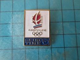 PIN216b Pin´s Pins /       ALBERTVILLE JEUX OLYMPIQUES 1992 SEIKO TIME MONTRES CHRONOMETRES   INSCRIPTION AU DOS ,  Voir - Olympic Games