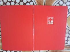 Helvetia Suisse Croix Rouge Matériel,Album Rouge à Bande Pour Timbres Postes Petit Format,fond Blanc Port Postal Offert - Classificatori