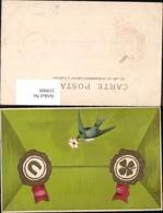 319909,Präge Litho Brieftaube Taube Siegel Kleeblatt Hufeisen Briefkuvert Postwesen P - Post & Briefboten