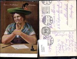 319927,Künstler Ak Frau Tracht Ansichtskarte Postkarte Mathäser München Postwesen Pos - Post & Briefboten