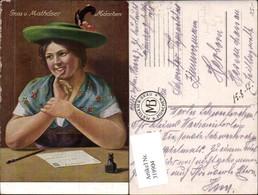 319904,Künstler Ak Frau Tracht Ansichtskarte Postkarte Mathäser München Postwesen Pos - Post & Briefboten