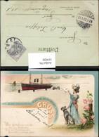 319920,Litho Frau Hund Abschied Schiff Ansichtskarten Spruch Text Postwesen - Post & Briefboten