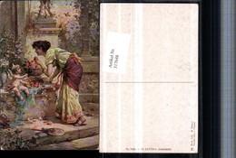 317648,Künstler AK Hans Zatzka Liebesäpfel Amor Engel Frau M. Kleid Pub Ackermann 143 - Zatzka