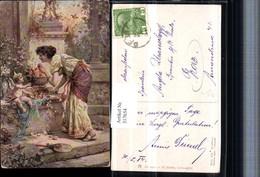 317654,Künstler AK Hans Zatzka Liebesäpfel Amor Engel Frau Kleid Pub Ackermann 1432 - Zatzka