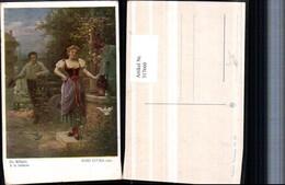 317660,Künstler AK Hans Zatzka Die Müllerin Frau In Tracht Brunnen Mann M. Hut - Zatzka