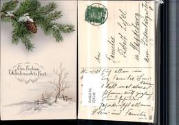 323148,Künstler AK Weihnachten Winterlandschaft Tannenzweige Zapfen - Non Classificati