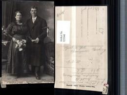 323360,Foto AK Hochzeit Hochzeitsfoto Brautpaar Brautstrauß 1920 - Hochzeiten