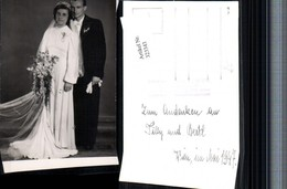323343,Foto AK Hochzeit Hochzeitsfoto Brautpaar Brautkleid Brautstrauß 1947 Pub Steff - Hochzeiten
